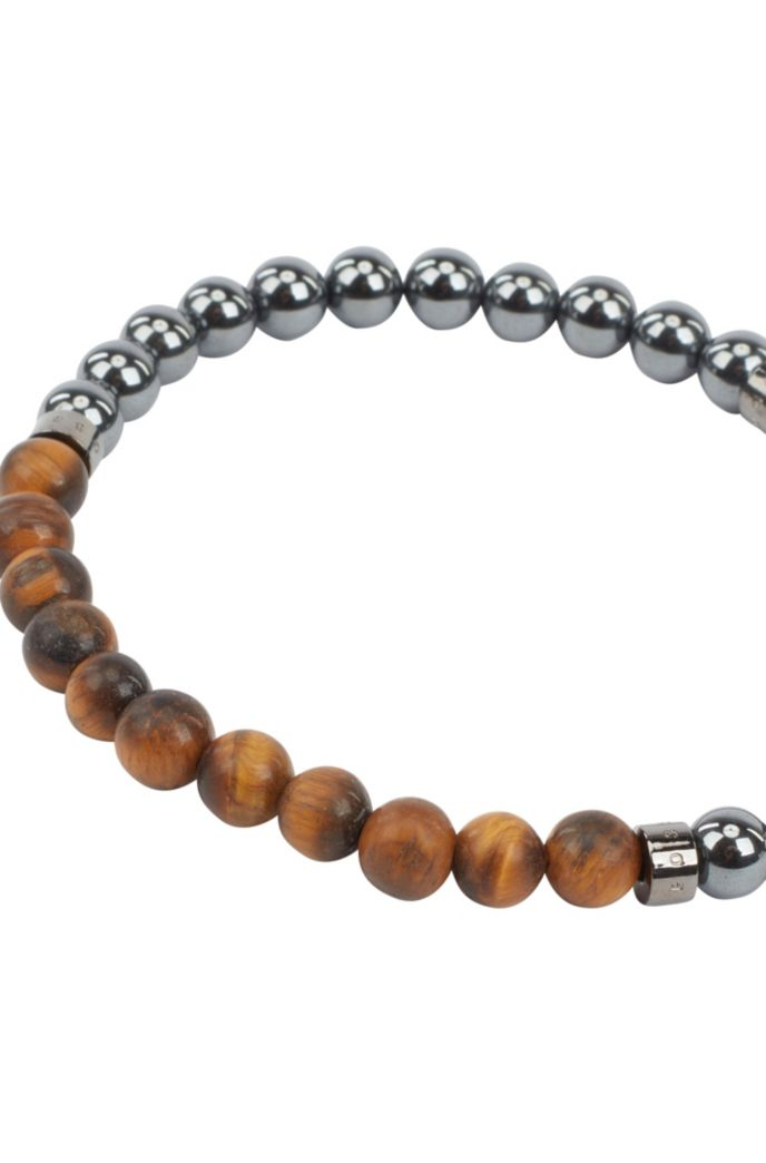 Italian-made cuff with hematite and tiger's-eye beads