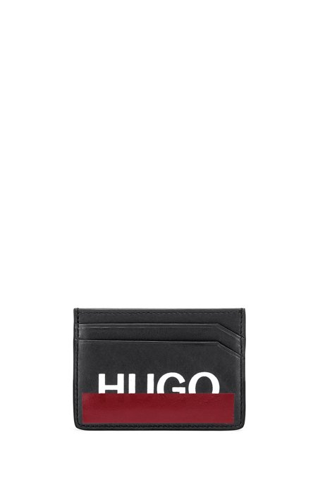 Leather card holder with partially concealed logo, Black