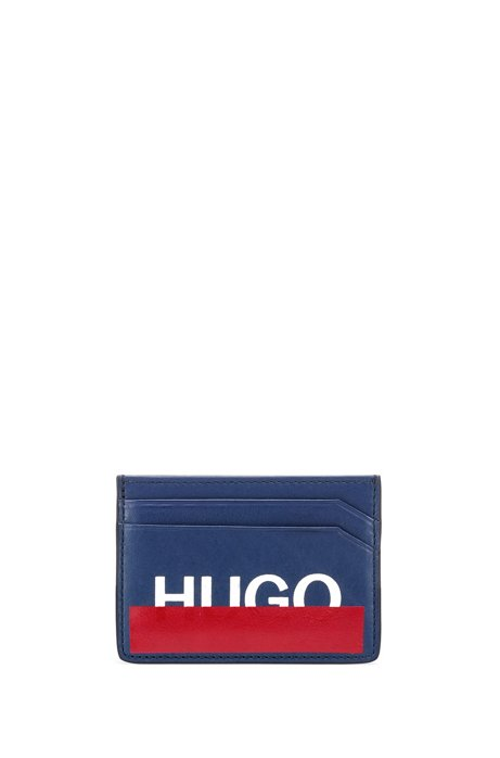 Leather card holder with partially concealed logo, Dark Blue
