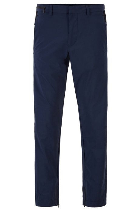 Tapered-fit pants in travel-friendly bi-stretch fabric, Dark Blue