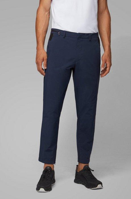 Tapered-fit pants in travel-friendly bi-stretch fabric, Dark Blue