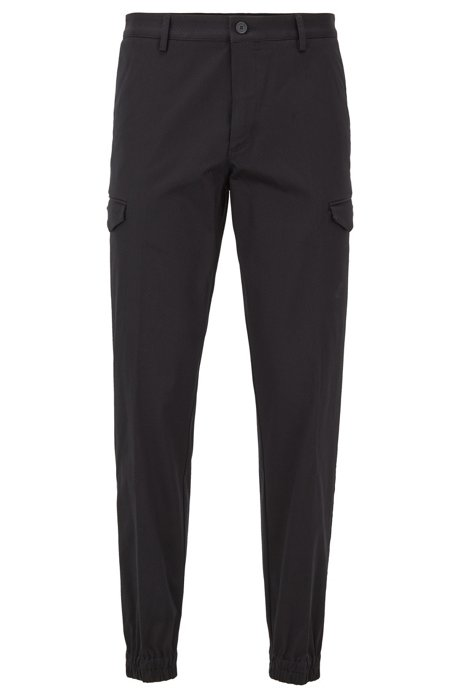 Tapered-fit cargo pants in structured stretch cotton, Black