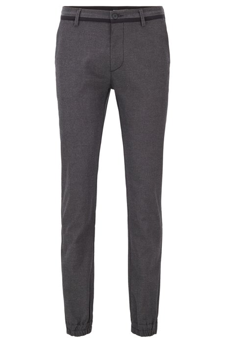 Cuffed slim-fit pants with Coolmax finish, Black