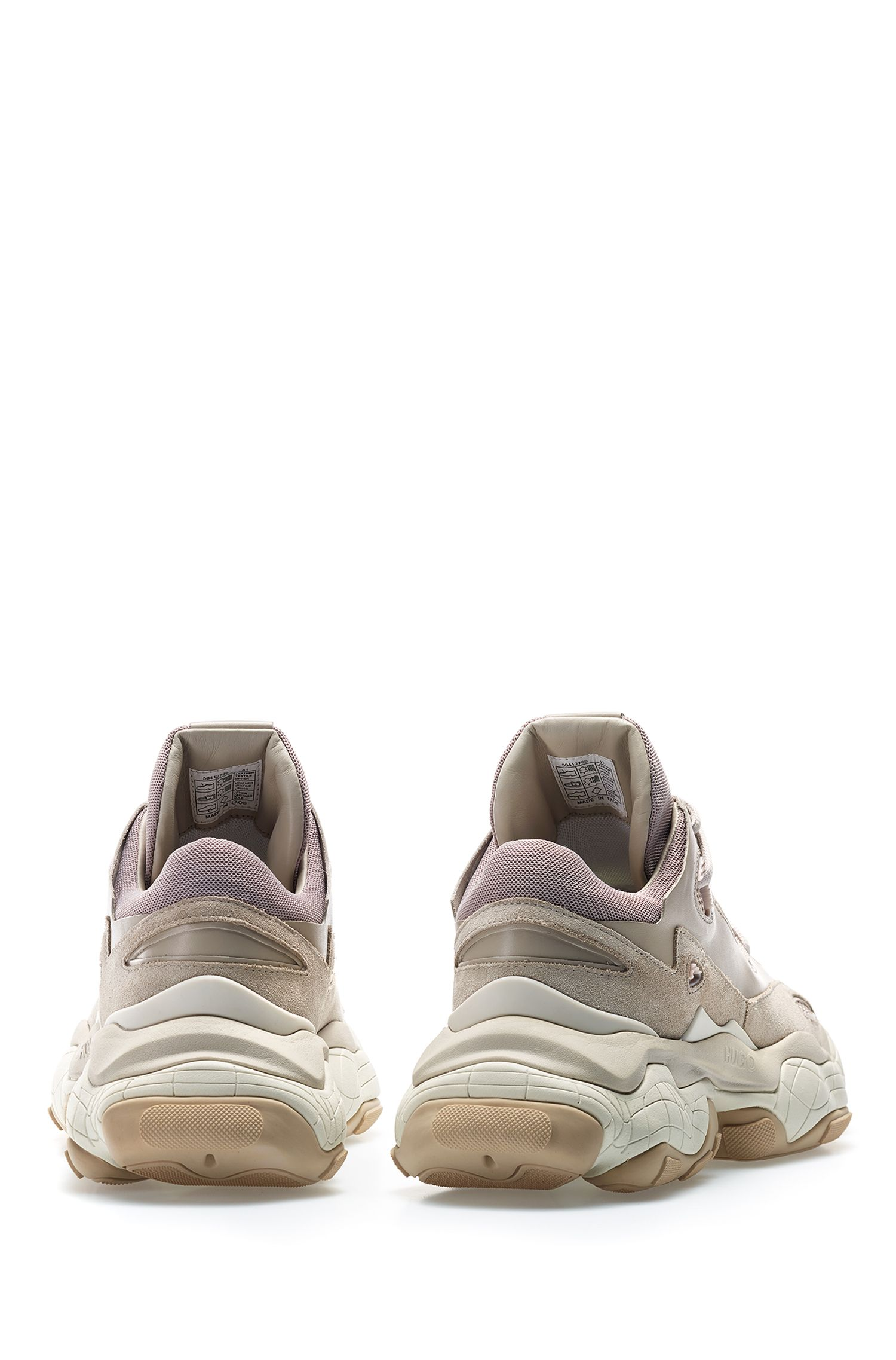 Lace-up sneakers in mixed leather with mesh detailing, Beige