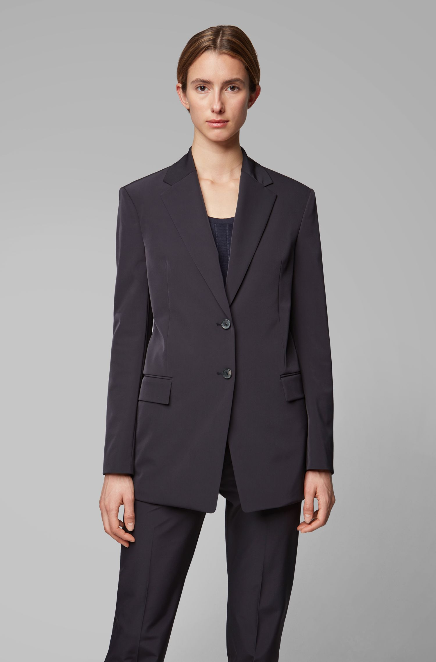 Fashion Show relaxed-fit jacket in Italian stretch fabric, Open Blue