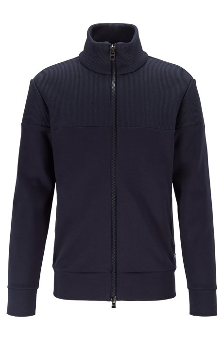 Zip-through sweatshirt with structured panels, Dark Blue
