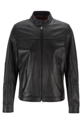 black leather jacket hugo boss
