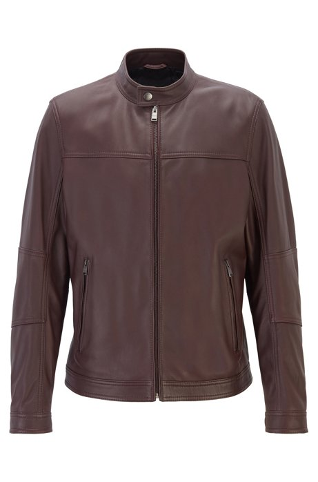 Regular-fit blouson jacket in nappa leather, Dark Red