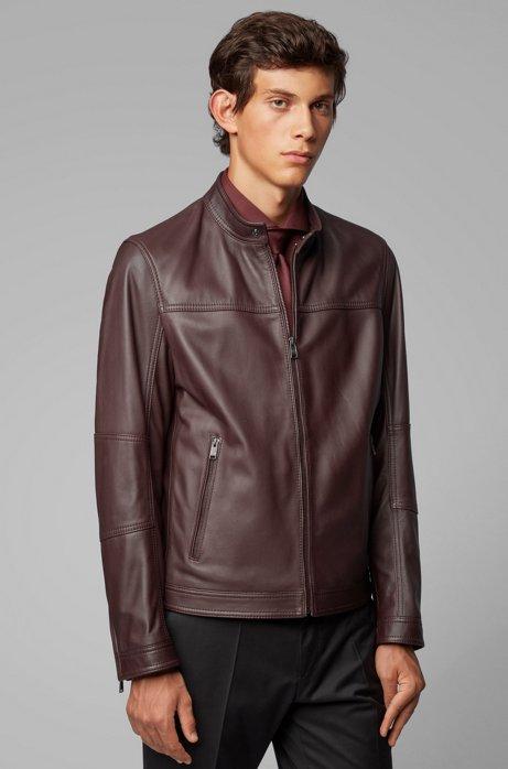 Regular-fit blouson jacket in nappa leather, Dark Red