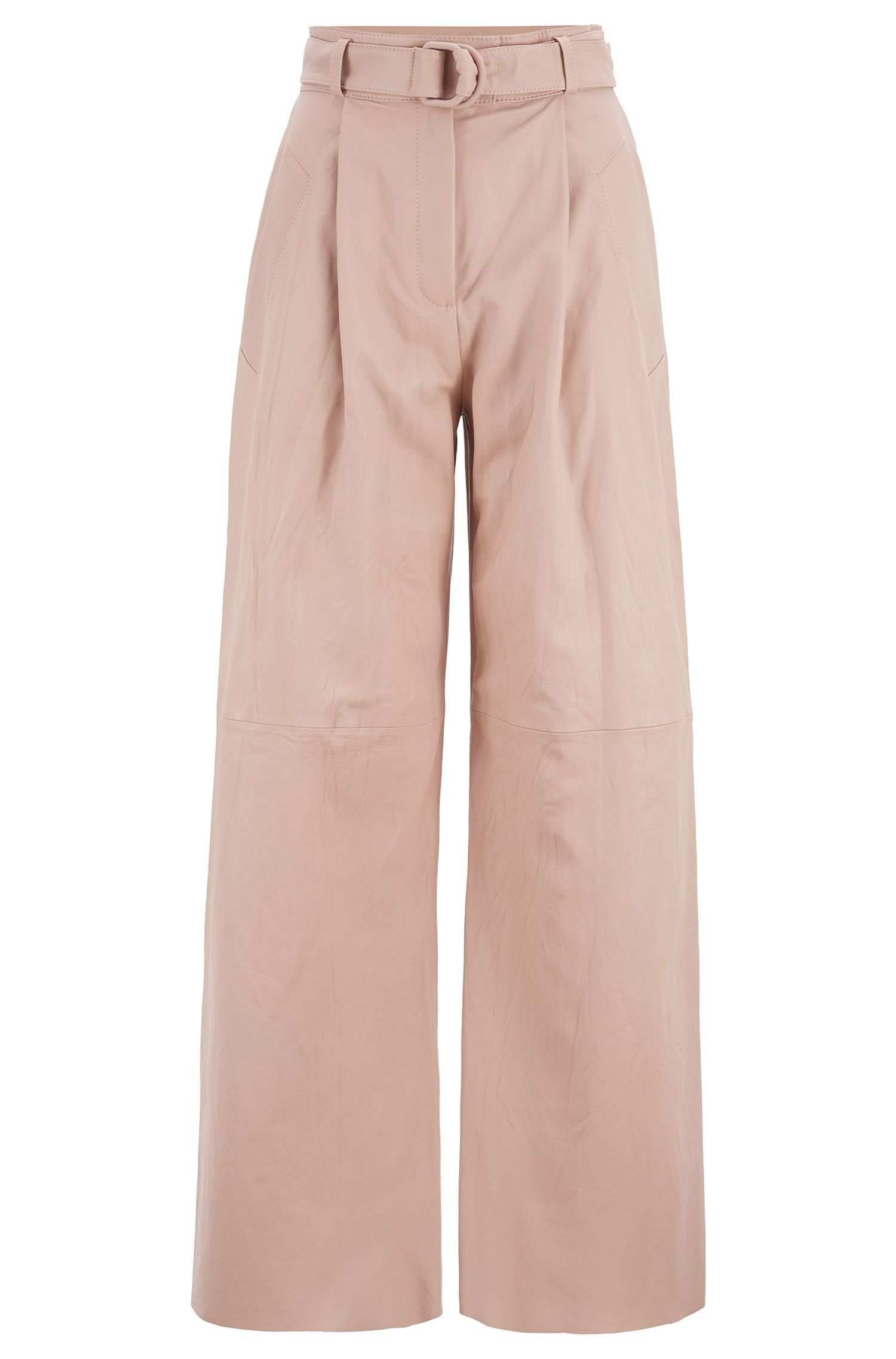 Fashion Show relaxed-fit long-length pants in nappa leather, light pink
