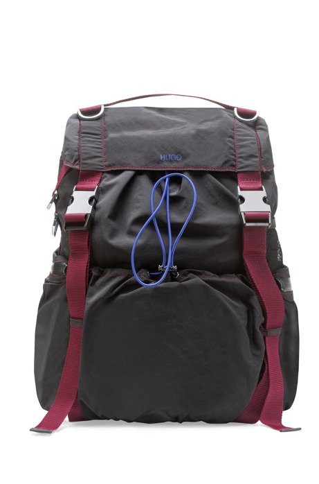 Drawstring backpack with contrast webbing and D-rings, Black
