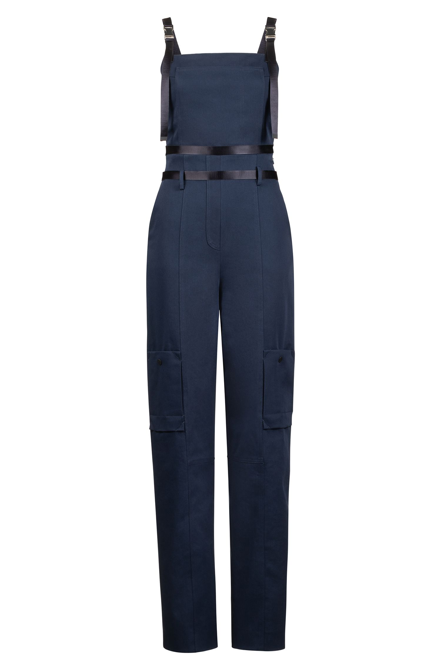 Fashion Show jumpsuit in stretch cotton with cargo pockets, Open Blue