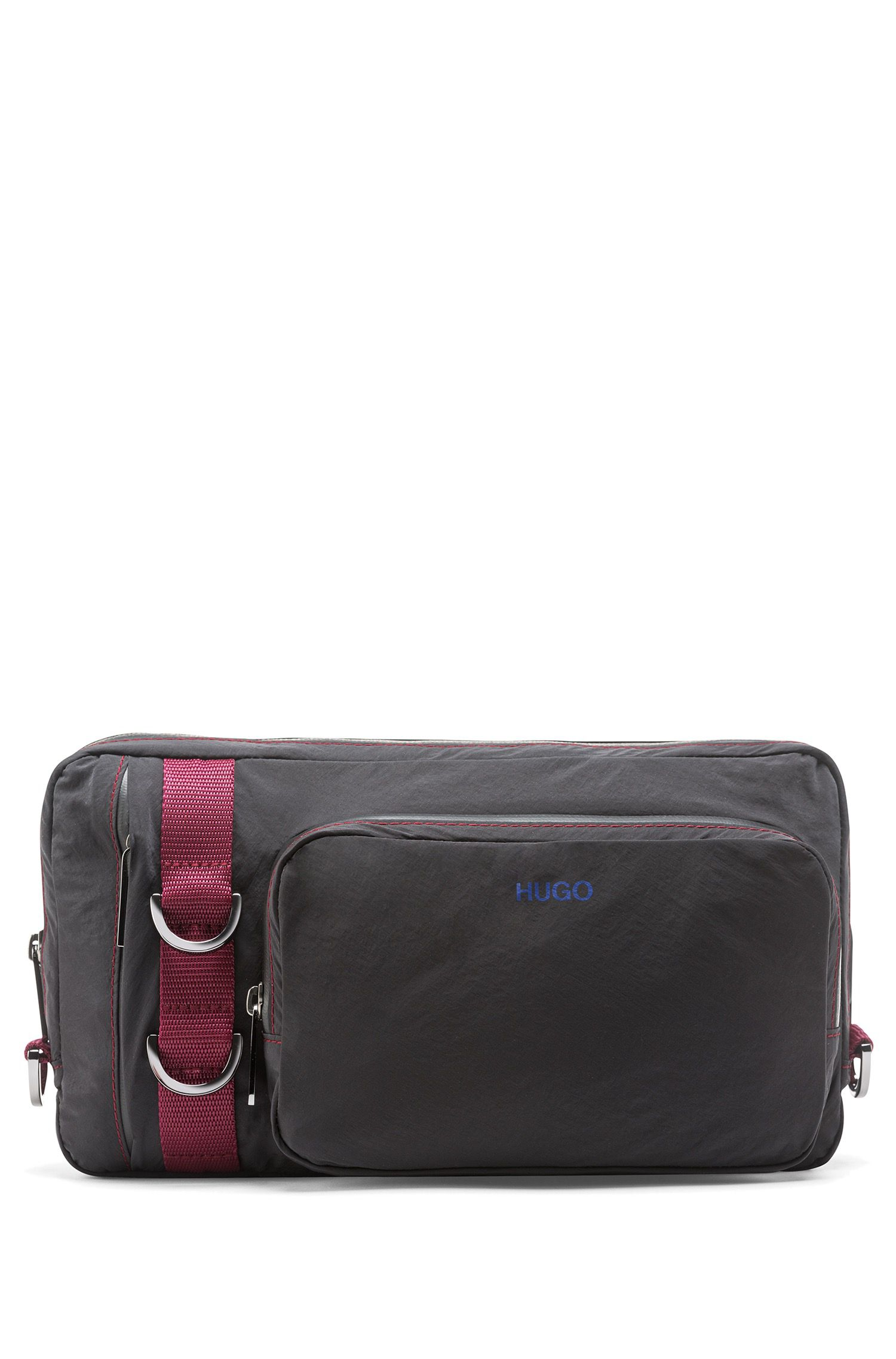 Belt bag with contrast accents and webbing, Black