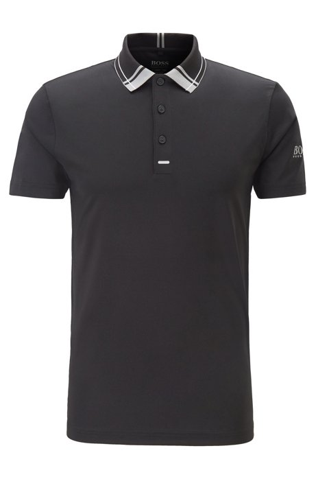 Slim-fit golf polo shirt in moisture-wicking fabric, Black