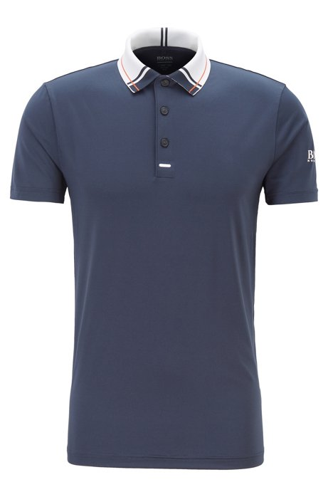 Slim-fit golf polo shirt in moisture-wicking fabric, Dark Blue