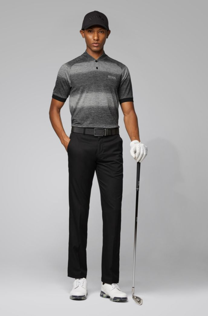 Slim-fit golf polo shirt in melange stripes
