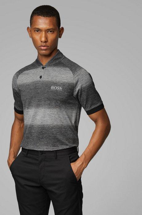 Slim-fit golf polo shirt in melange stripes, Black