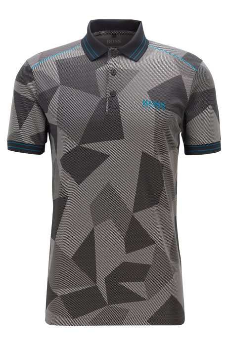 Regular-fit polo shirt with abstract jacquard pattern, Black