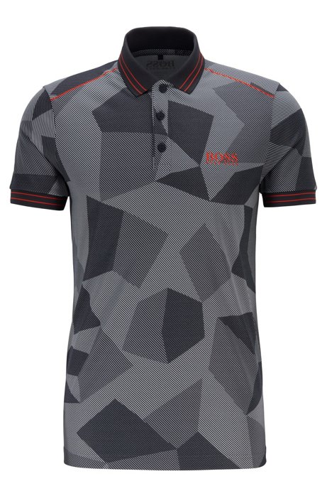 Regular-fit polo shirt with abstract jacquard pattern, Dark Blue