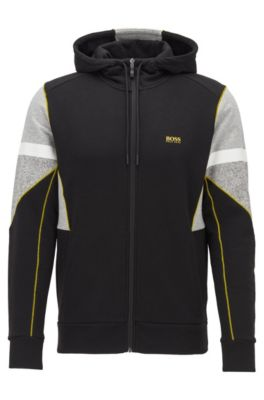 Zip-through hooded sweatshirt in French terry with Sorona®, Black
