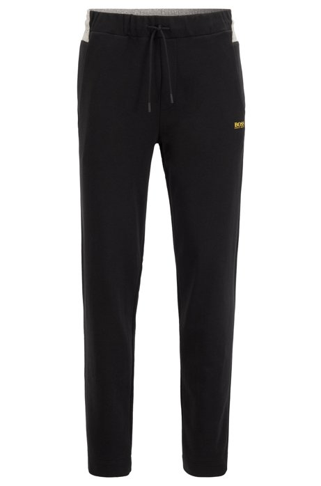Regular-fit jogging pants with contrast panel, Black