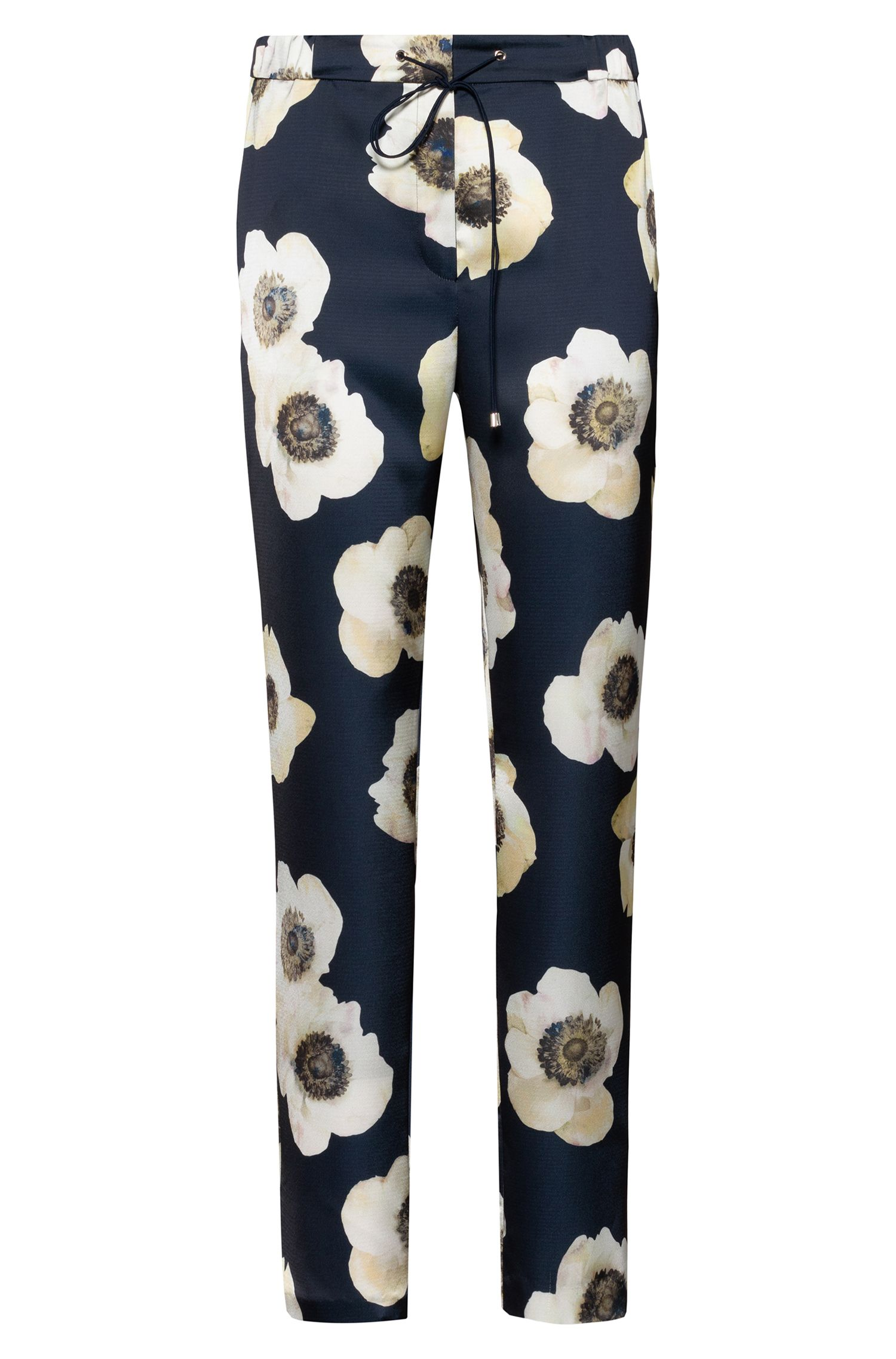 Drawstring pants in hammered fabric with anemone print, Patterned