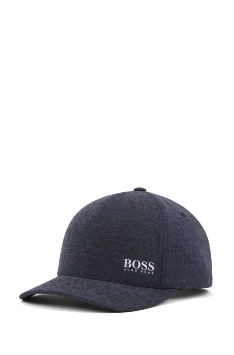 Melange-canvas cap with collection pattern and snapback closure, Dark Blue