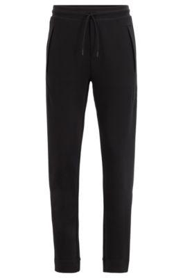 Slim-fit jersey pants with drawstring waist, Black