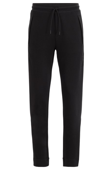 Slim-fit jersey pants with drawstring waist, Black