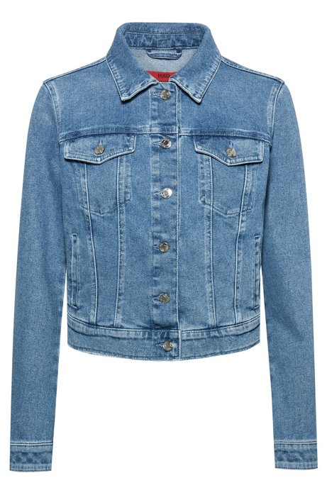 Regular-fit jacket in stretch denim with chest pockets, Turquoise