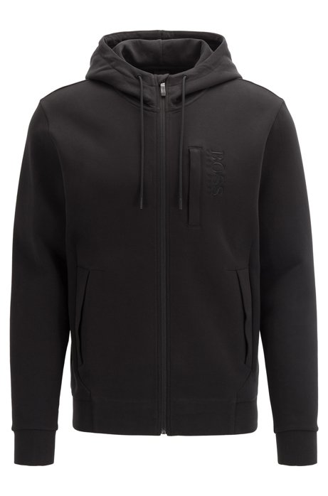 Zip-through hooded sweatshirt in a cashmere-touch cotton blend, Black