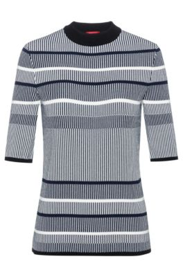 Slim-fit striped sweater in super-stretch yarn, Patterned