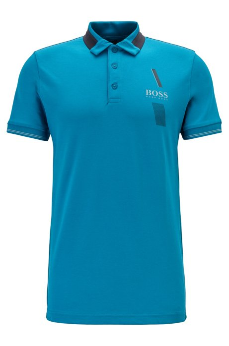 Slim-fit polo shirt with S.Café® and contrast collar, Open Blue