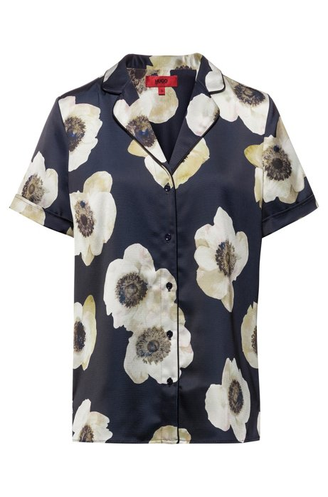 Pajama-style short-sleeved blouse with anemone print, Patterned