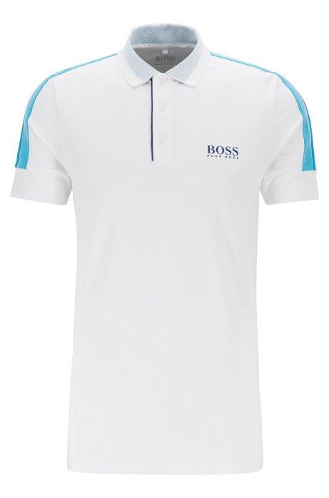 Slim-fit golf polo shirt with S.Café®, White