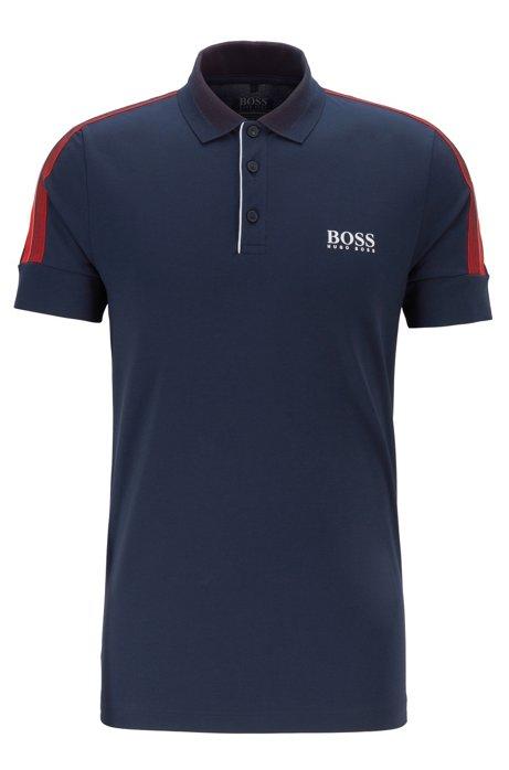 Slim-fit golf polo shirt with S.Café®, Dark Blue