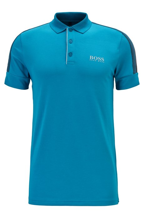 Slim-fit golf polo shirt with S.Café®, Open Blue