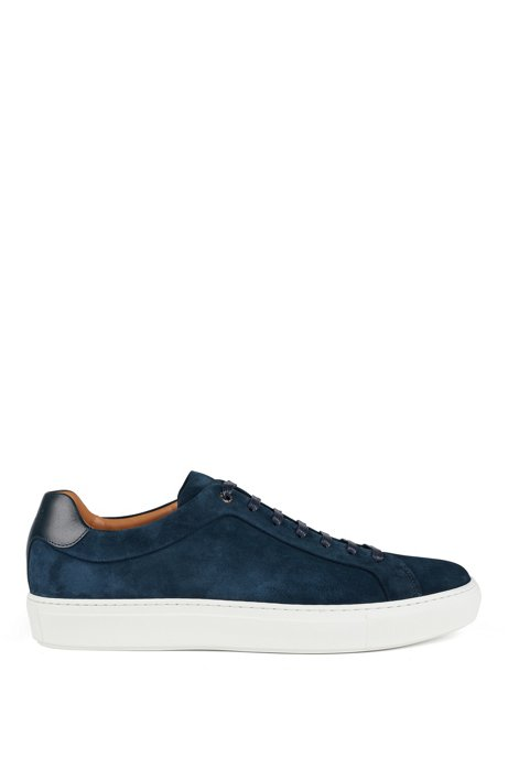 Sneakers in Italian suede with cognac leather lining, Dark Blue