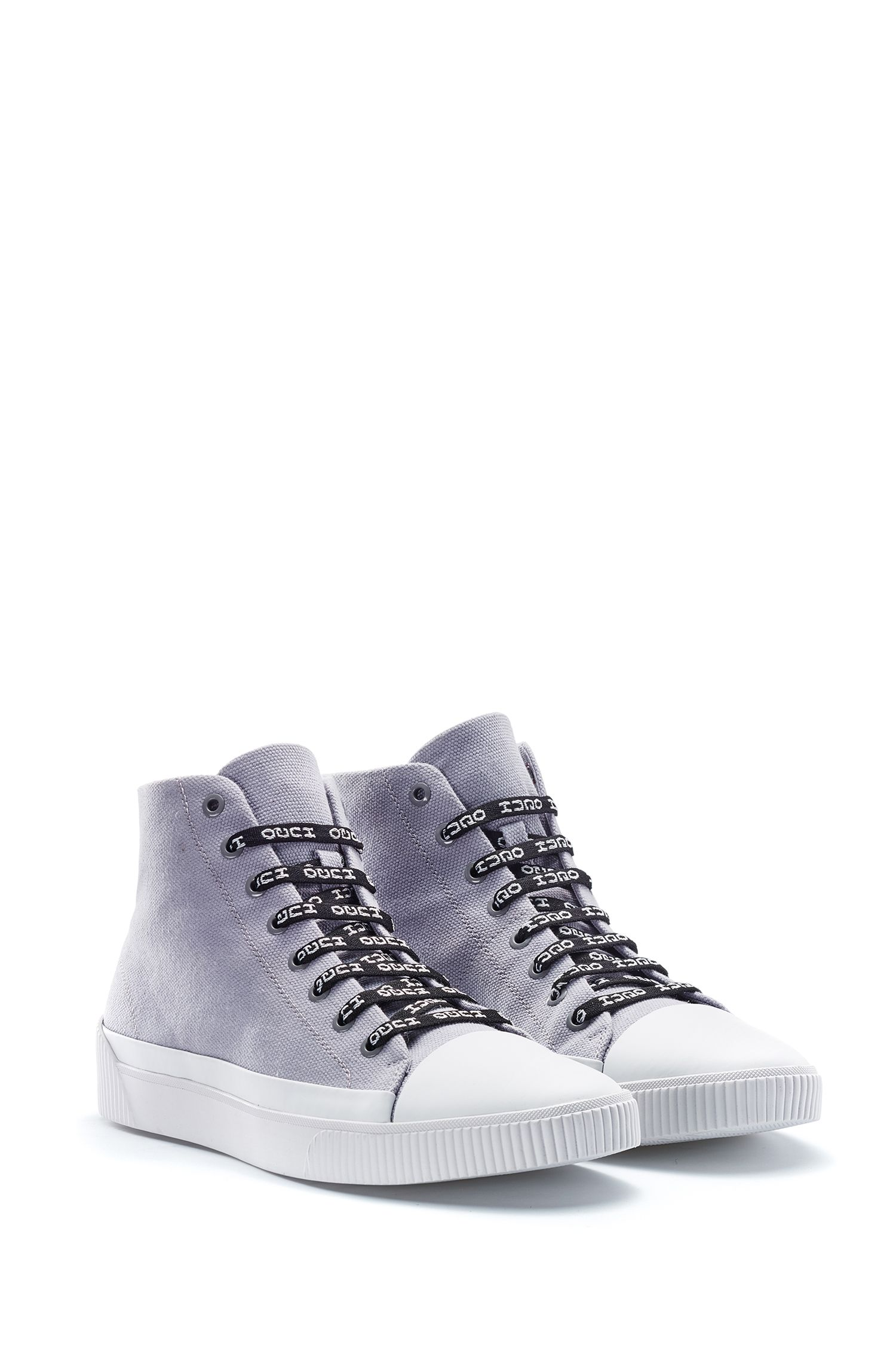 High-top sneakers in canvas with reverse-logo laces, Grey