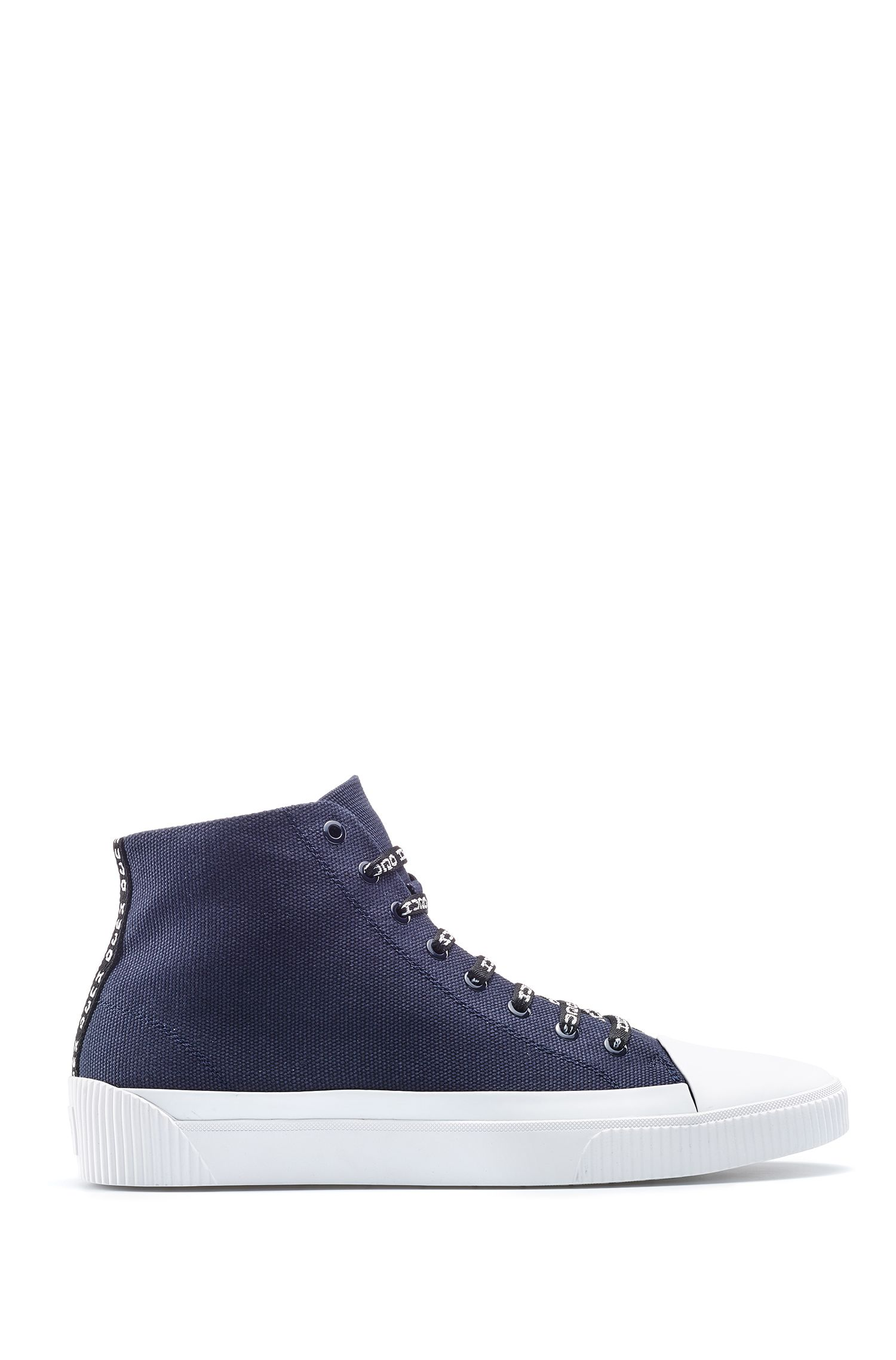 High-top sneakers in canvas with reverse-logo laces, Dark Blue