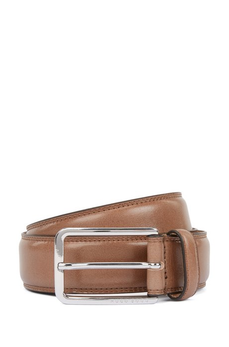Italian-made belt in leather with double-stitching detail, Khaki