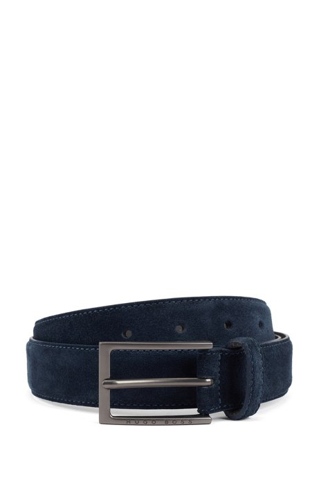 Pin-buckle belt in Italian suede with tapered tip, Dark Blue