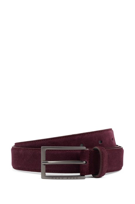 Pin-buckle belt in Italian suede with tapered tip, Dark Red