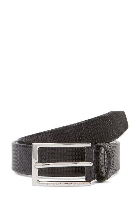 Business belt in monogram-embossed leather, Black