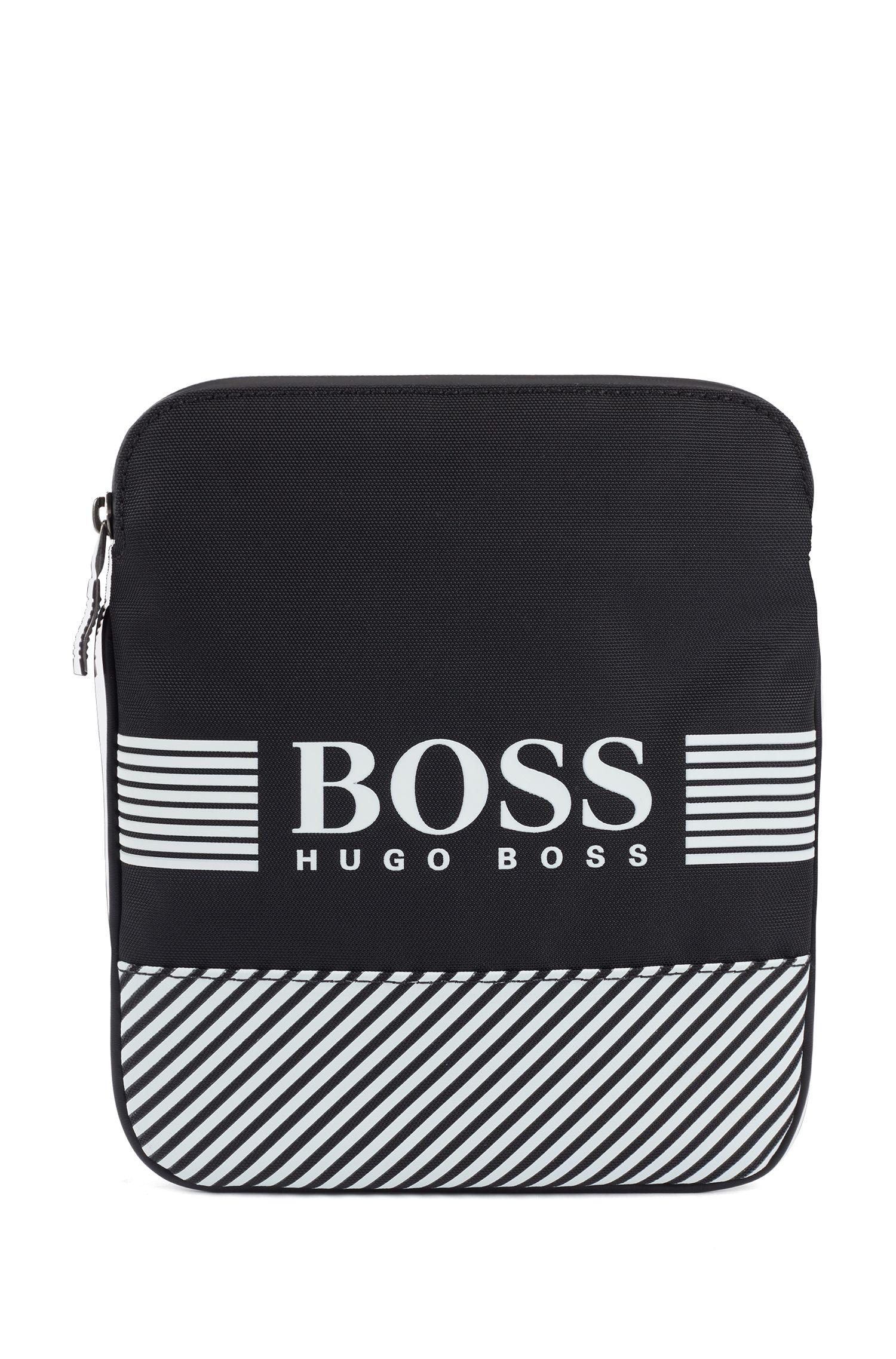 Envelope bag with printed logo and seasonal stripes, Patterned