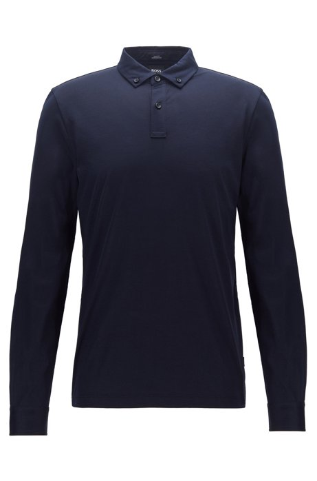 Slim-fit long-sleeved polo shirt in mercerized cotton, Dark Blue
