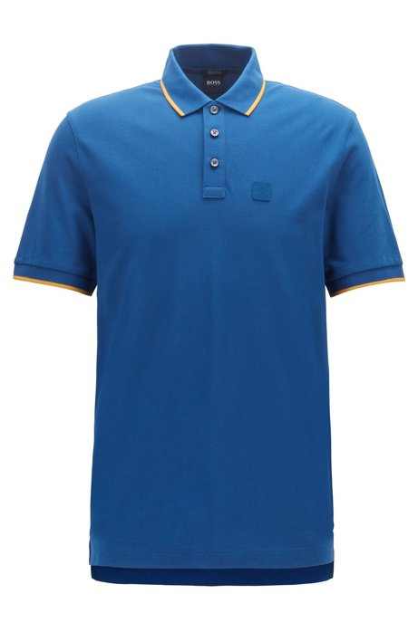 Regular-fit polo shirt with tipping stripe details, Dark Blue