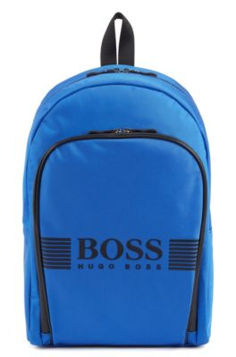 Logo backpack in structured nylon with waterproof zippers, Blue