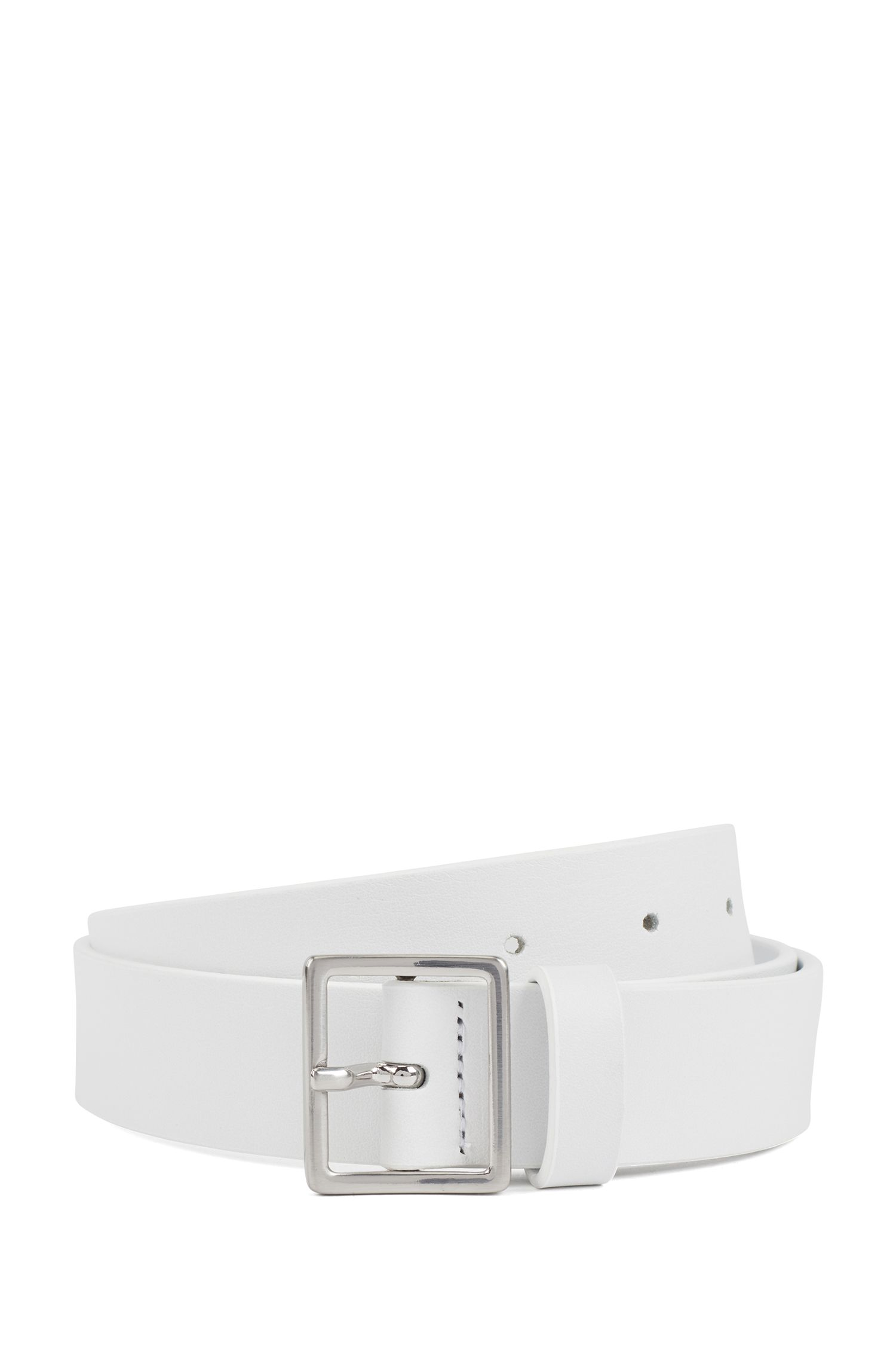 Silver-buckle belt in Italian calf leather, White