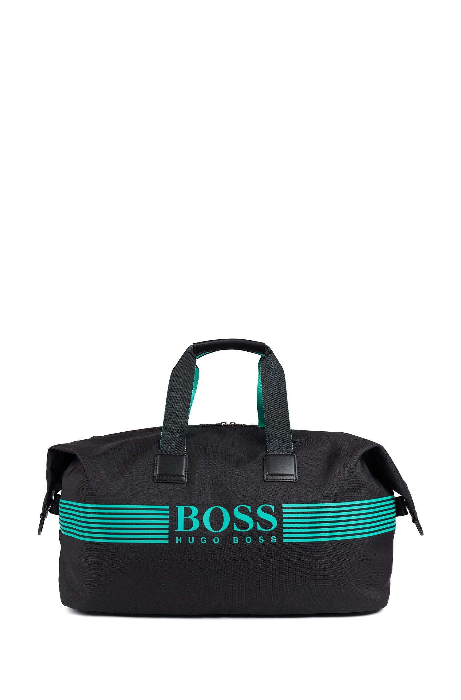 Holdall in structured nylon with contrast logo, Black